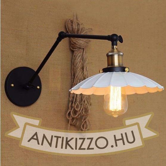 antik-fali-olvaso-lampa-matt-fekete-antik-sargarez-szin-feher-hullamos-buraval