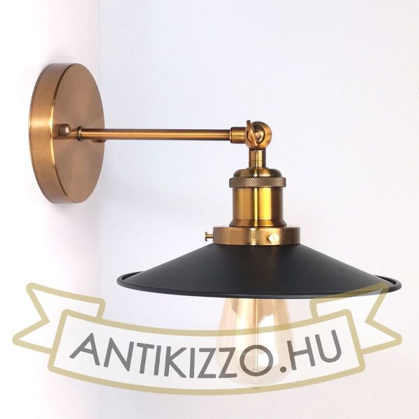 antik-sargarez-fali-lampa-fekete-lapos-buraval