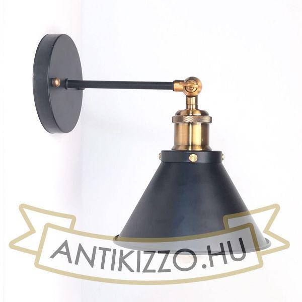 antik-fali-lampa-matt-fekete-antik-sargarez-szin-kis-buraval