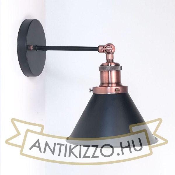 antik-fali-lampa-matt-fekete-antik-vorosrez-szin-kis-buraval