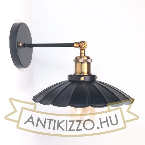 antik-fali-lampa-matt-fekete-antik-sargarez-szin-hullamos-buraval