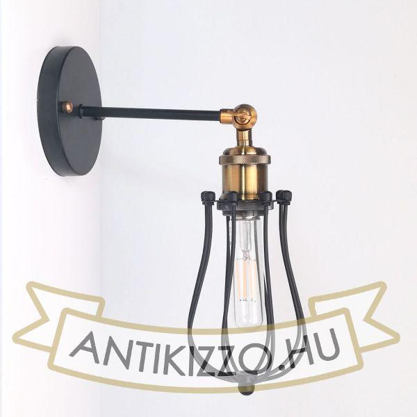 antik-fali-lampa-matt-fekete-antik-sargarez-szin-csepp-alaku-raccsal