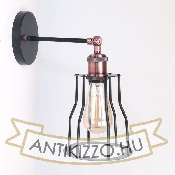 antik-fali-lampa-matt-fekete-antik-vorosrez-szin-csepp-alaku-raccsal