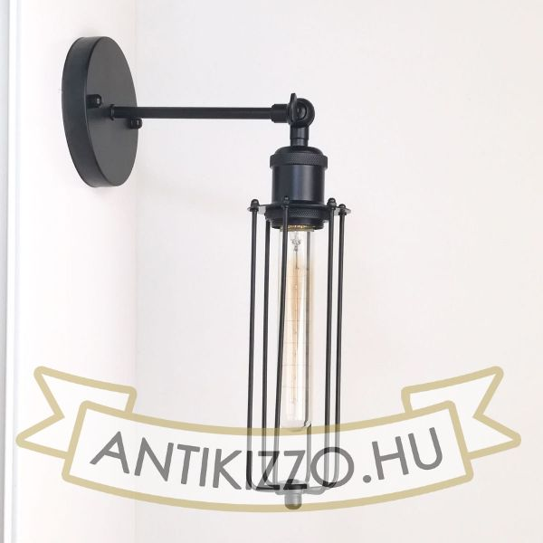 antik-fali-lampa-matt-fekete-szin-csepp-alaku-raccsal