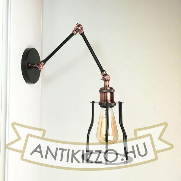 antik-fali-olvaso-lampa-matt-fekete-antik-vorosrez-szin-csepp-alaku-raccsal