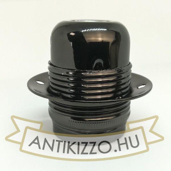 Kép Fém foglalat külső menetes 1db buratartó gyűrűvel fényes fekete szín