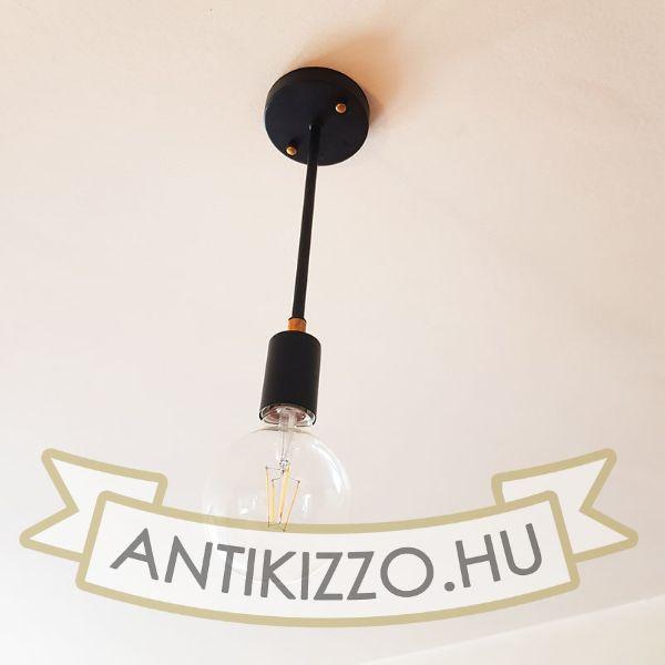Merevszárú fém függeszték lámpa, fekete-antiksárgaréz E27