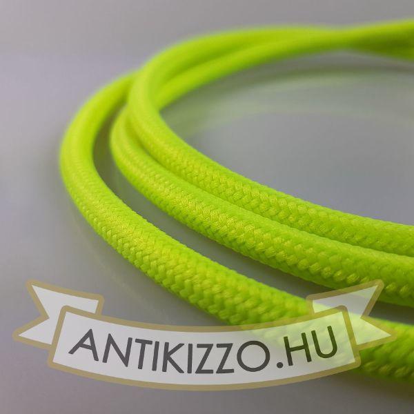 Textil kábel Neon zöld- 2x0,75