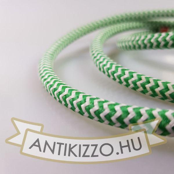 Textilkábel, szövetkábel, antik vezeték, fehér-zöld tarka vasalókábel - 2x0,75