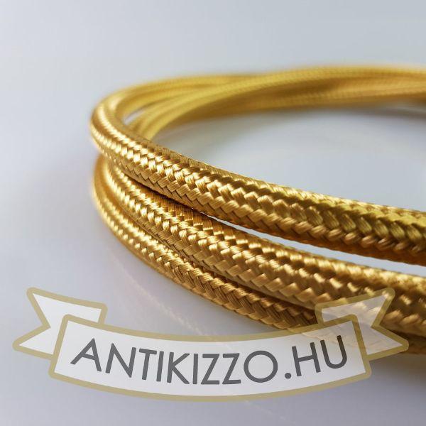 Textilkábel, szövetkábel, antik vezeték, arany - 2x0,75