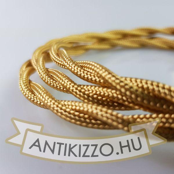 Fonott Textilkábel, szövetkábel, antik vezeték, arany - 2x0,75