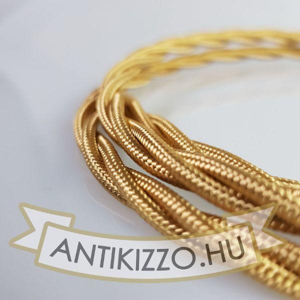 Fonott Textilkábel, szövetkábel, antik vezeték, arany - 3x0,75