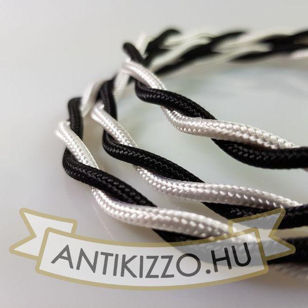 Fonott Textilkábel, szövetkábel, antik vezeték, fekete / fehér