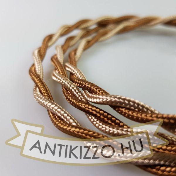 Fonott Textilkábel, szövetkábel, antik vezeték, törtfehér / dió2x0,75