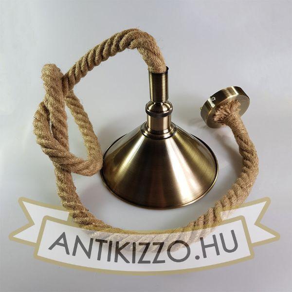 Kötél föggeszték antik bronz foglalattal és búrával - 1,5m