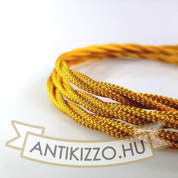 Fonott Textilvezeték, aranysárga - 3x0,75