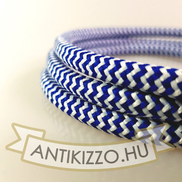 Textilkábel, fehér-kék vasalókábel - 3x0,75