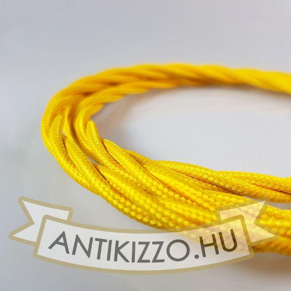Fonott Textilvezeték, sárga - 3x0,75