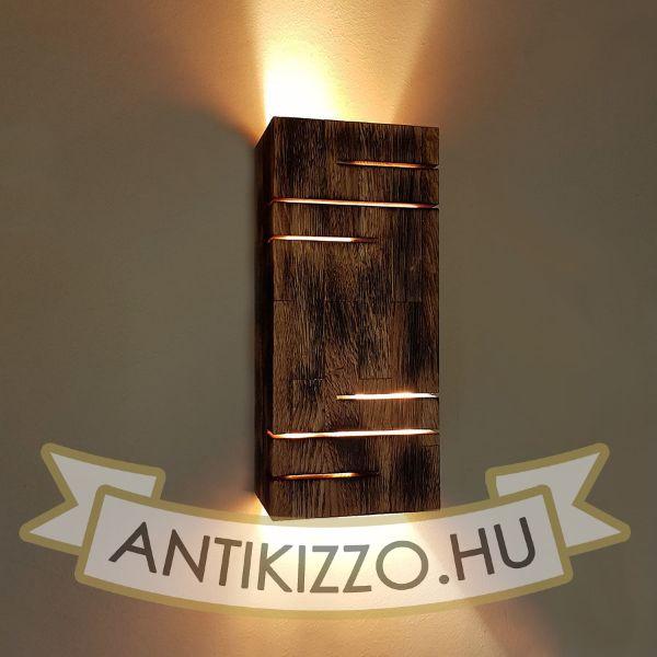 Fadekor fali lámpa égetett fa 2xE27 foglalattal