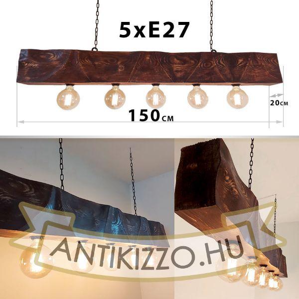 Fenyő gerenda függeszték dekor lámpa 5xE27 foglalattal