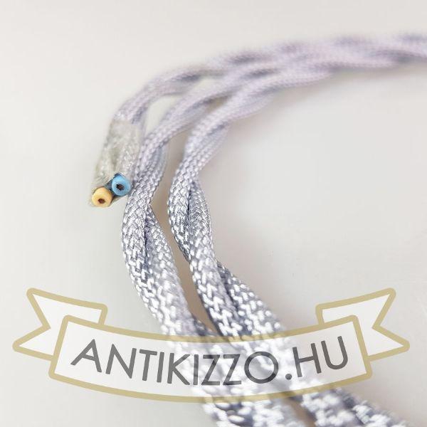 Fonott textil kábel ezüst - 2x0,75