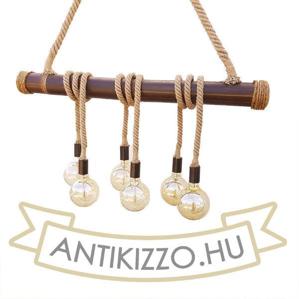 Bambusz -kötél függeszték lámpa 6xE27 foglalattal