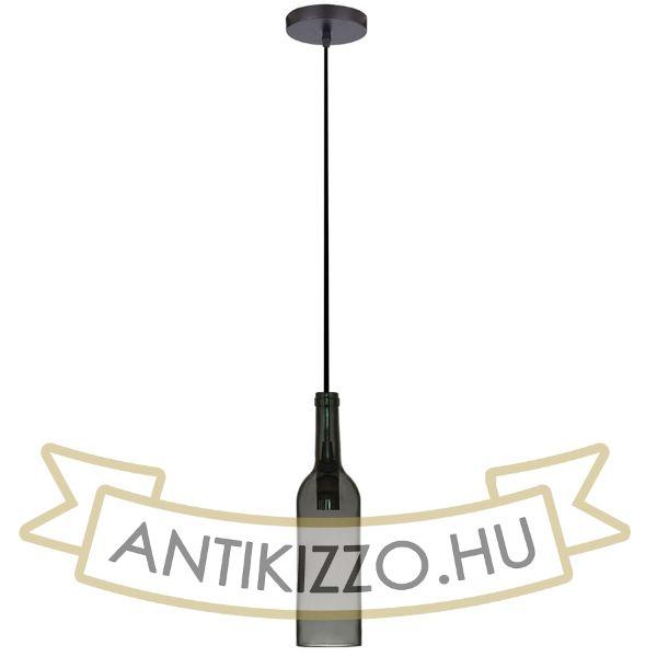 Borosüveg függeszték lámpa, textil vezetékkel - szürke - E14