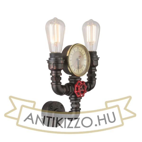 Vízvezeték cső fali lámpa dekorációs órával