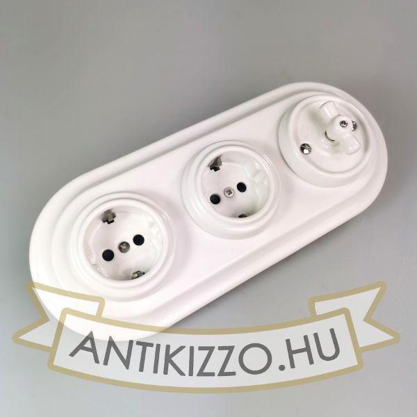 Porcelán kapcsoló, 2 konnektor, fehér