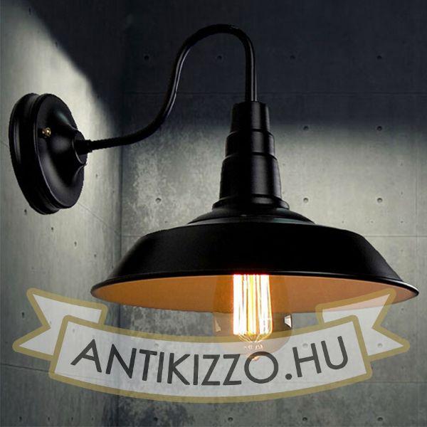 Antik fali lámpa amerikai stílusú - fehér búra belsővel